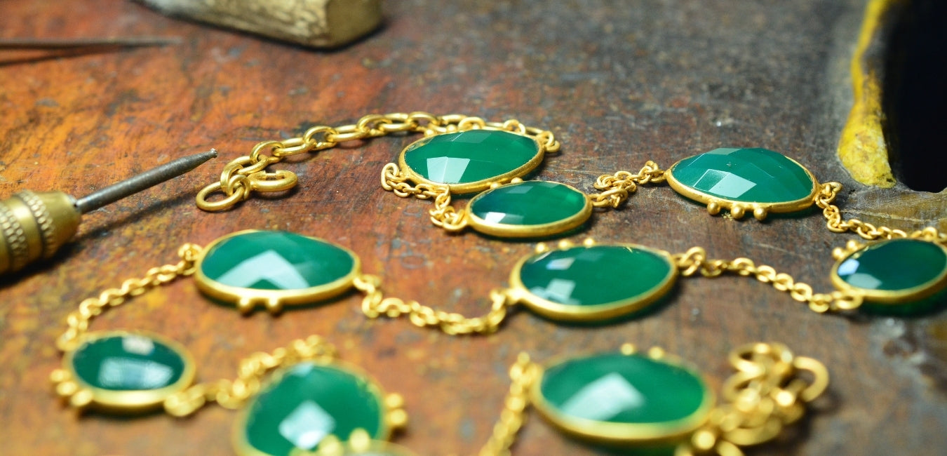 hand made necklace green