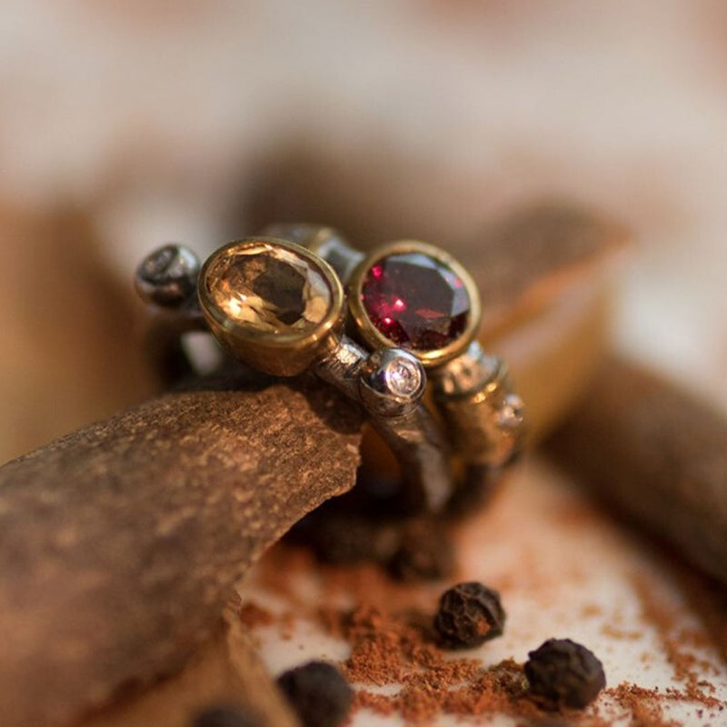 SAIGON GARNET AND ZIRCON RING