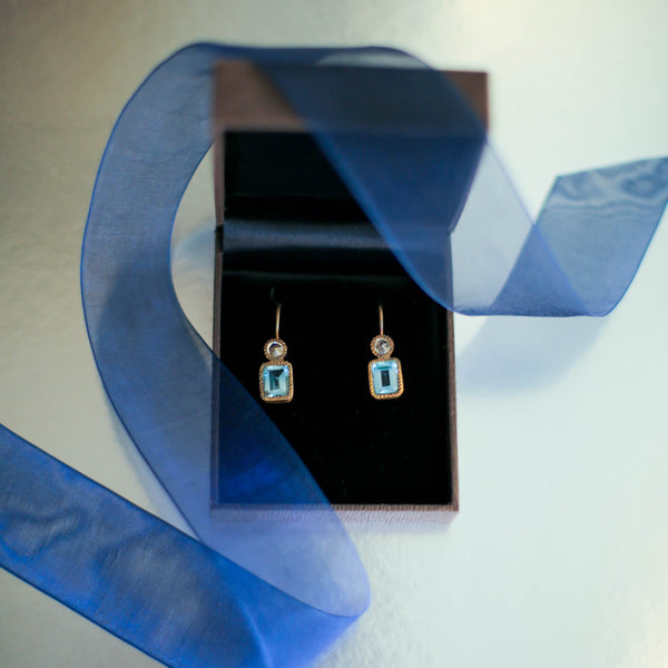 JAIPUR BLUE AND WHITE TOPAZ DROP EARRINGS
