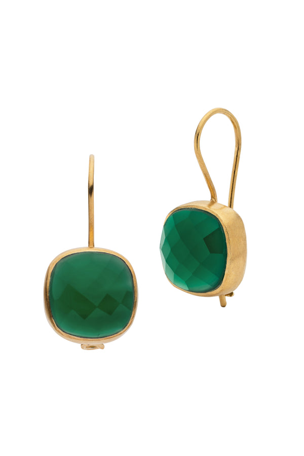 AMAZONIA GREEN CUSHION CUT EARRINGS