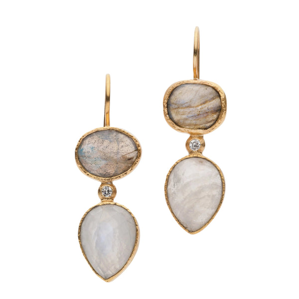 JAIPUR LABRADORITE AND MOONSTONE EARRINGS
