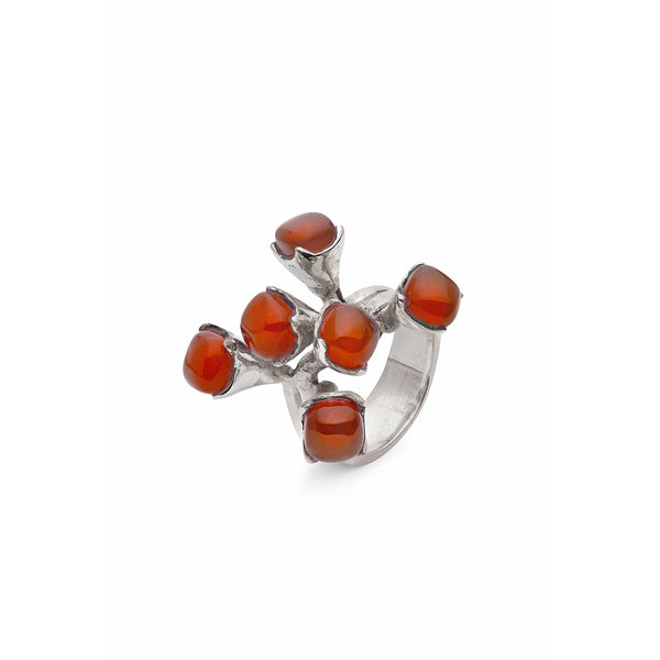AMAZONIA SILVER RED TREE BRANCH RING