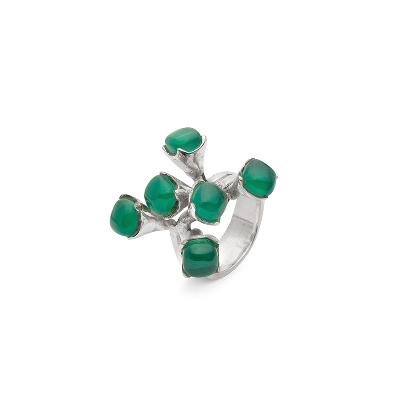 AMAZONIA SILVER GREEN TREE BRANCH RING