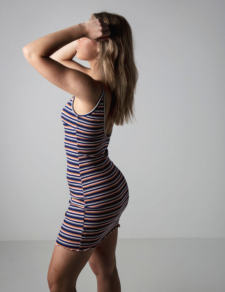 KNIT STRIPED MINI DRESS
