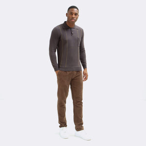 Alfaro L/S Polo AFKN150 organic cotton espresso/dark brown