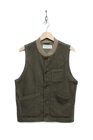 Universal Works Chore Waistcoat soft flannel olive
