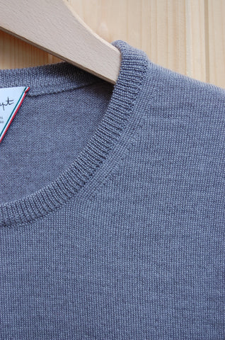 Six et Sept Merino Crewneck gris chiné