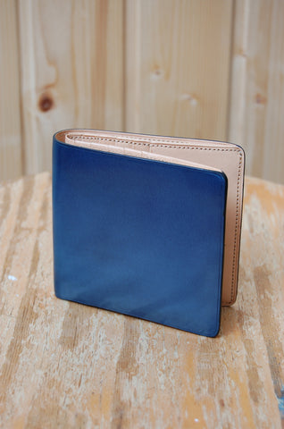 Il Bussetto Bi-fold Wallet with Button Closure Poseidon Blue