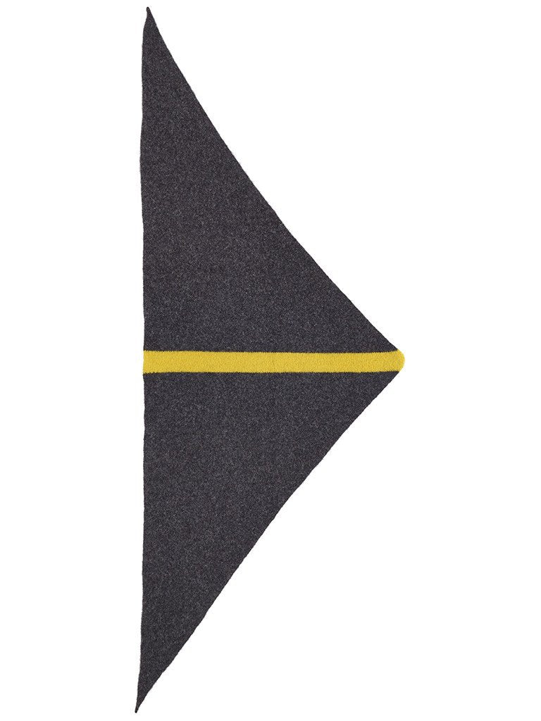 Jo Gordon Stripe Triangle Neckerchief charcoal & turmeric