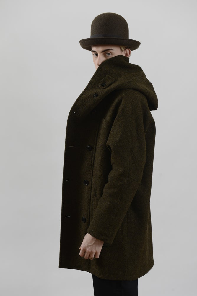 Fisherman long wool coat heather
