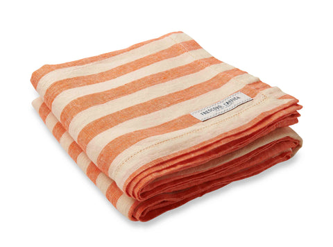 Frescobol Carioca Linen Towel Stripe Medium orange/off white