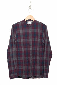herringbone check granddad shirt NAA0111D2 dark bordeaux 533