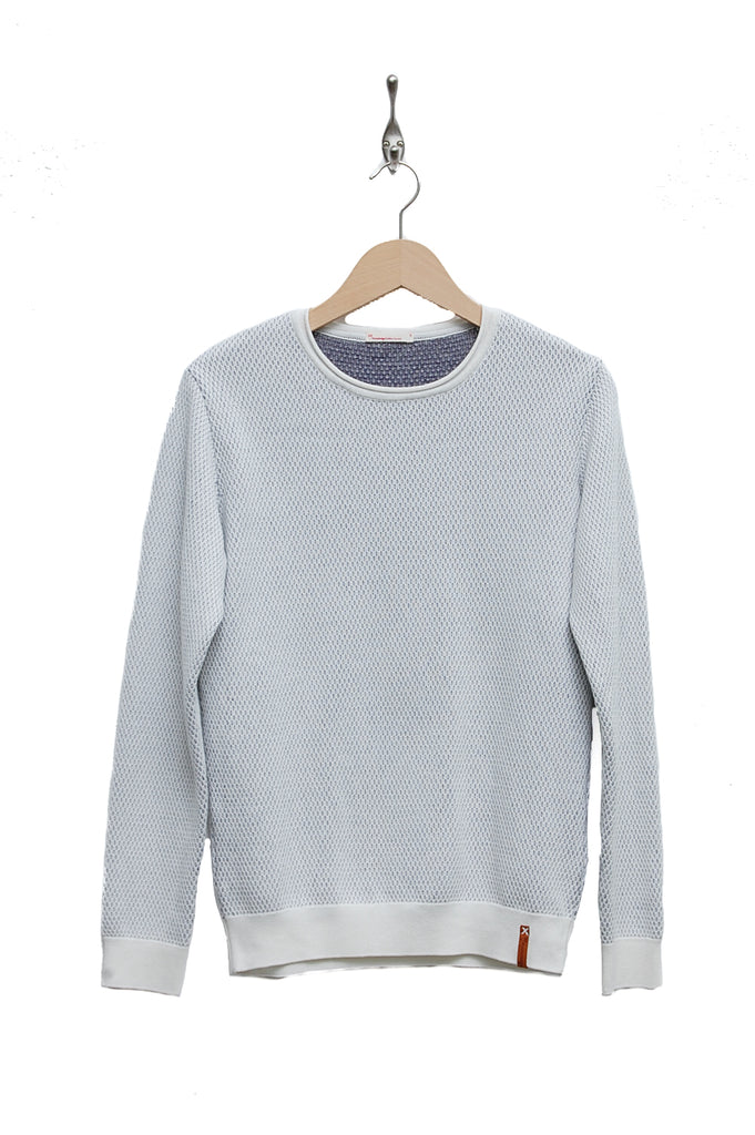 Knowledge Cotton Apparel Two Toned Round Neck Knit star white