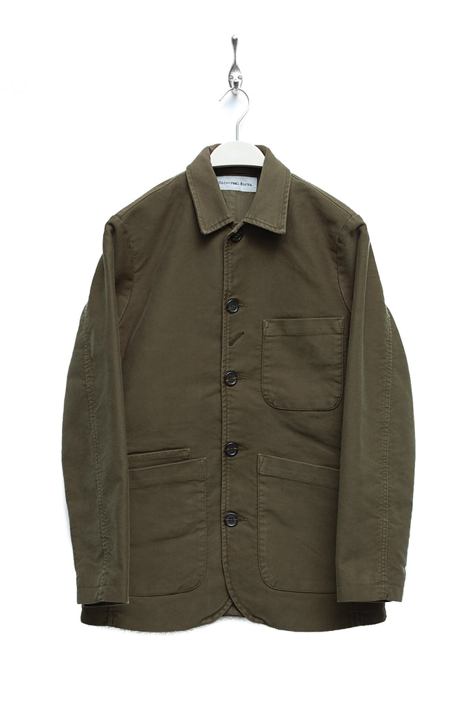 Universal Works Bakers Jacket Long satin twill olive 17516