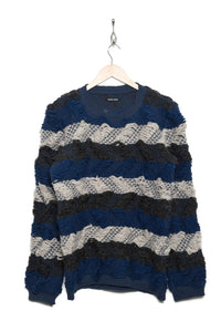 Handknitted Pullover R blue/grey/off-white