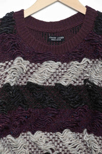 Handknitted Pullover R bordeaux/grey/off-white