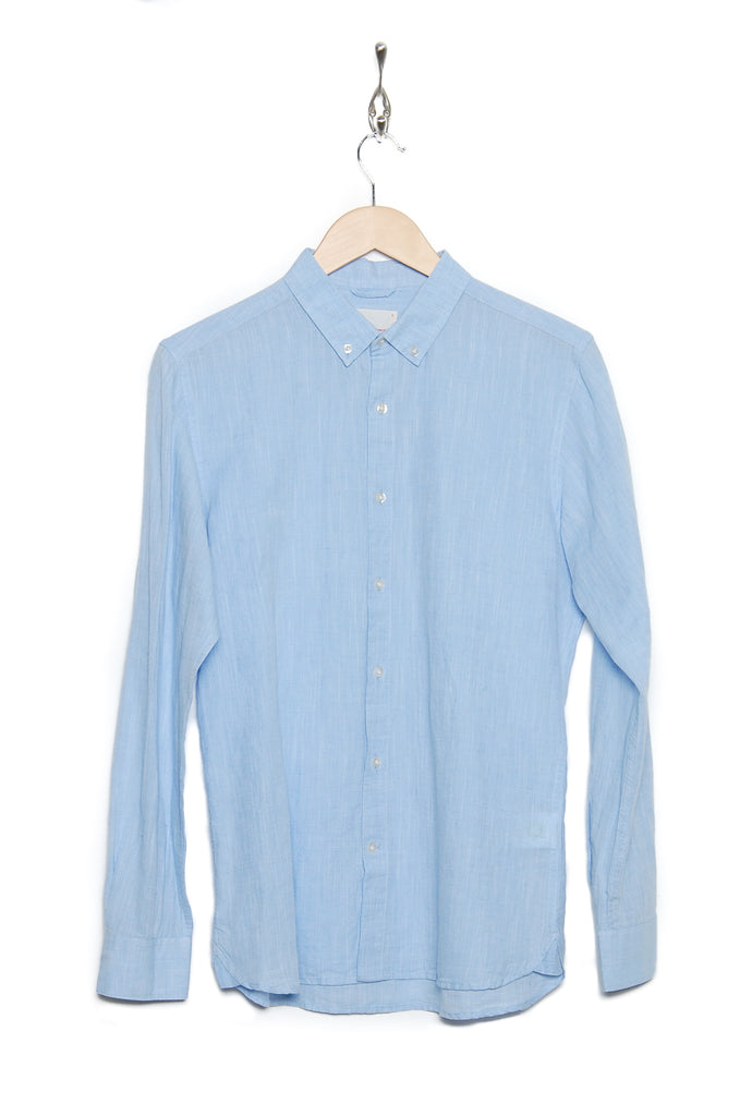 Knowledge Cotton Apparel Cotton Button-down linen 90733 1009 skyway