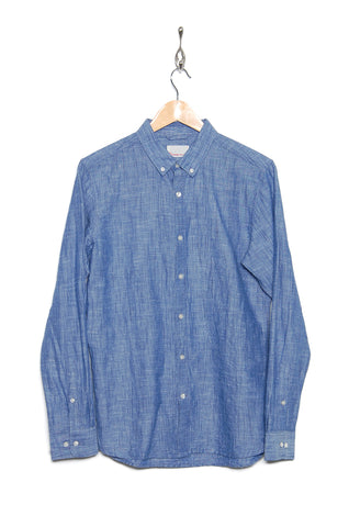 Knowledge Cotton Apparel Cotton Button-down linen 90733 1063 heritage blue