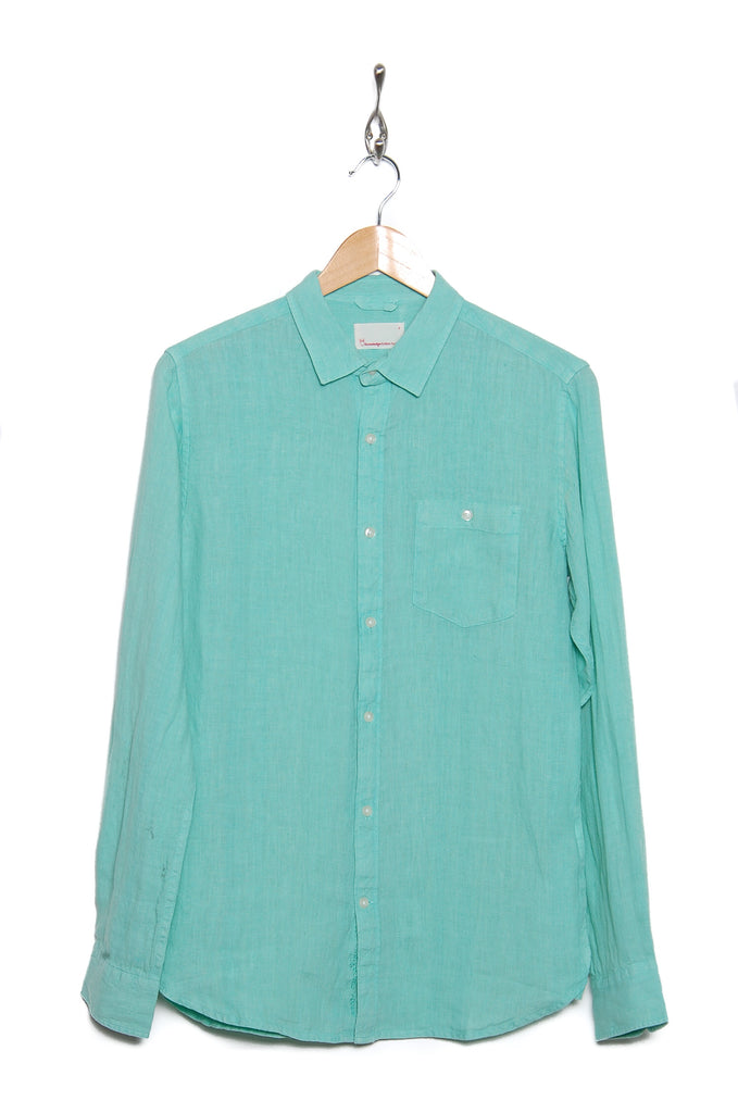 Knowledge Cotton Apparel Fabric Dyed Linen Shirt 90550 dusty jade 1263