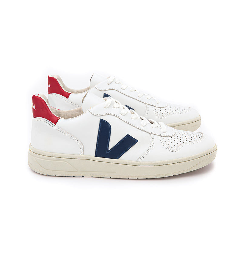 Veja V-10 Leather extra white/nautico/pekin