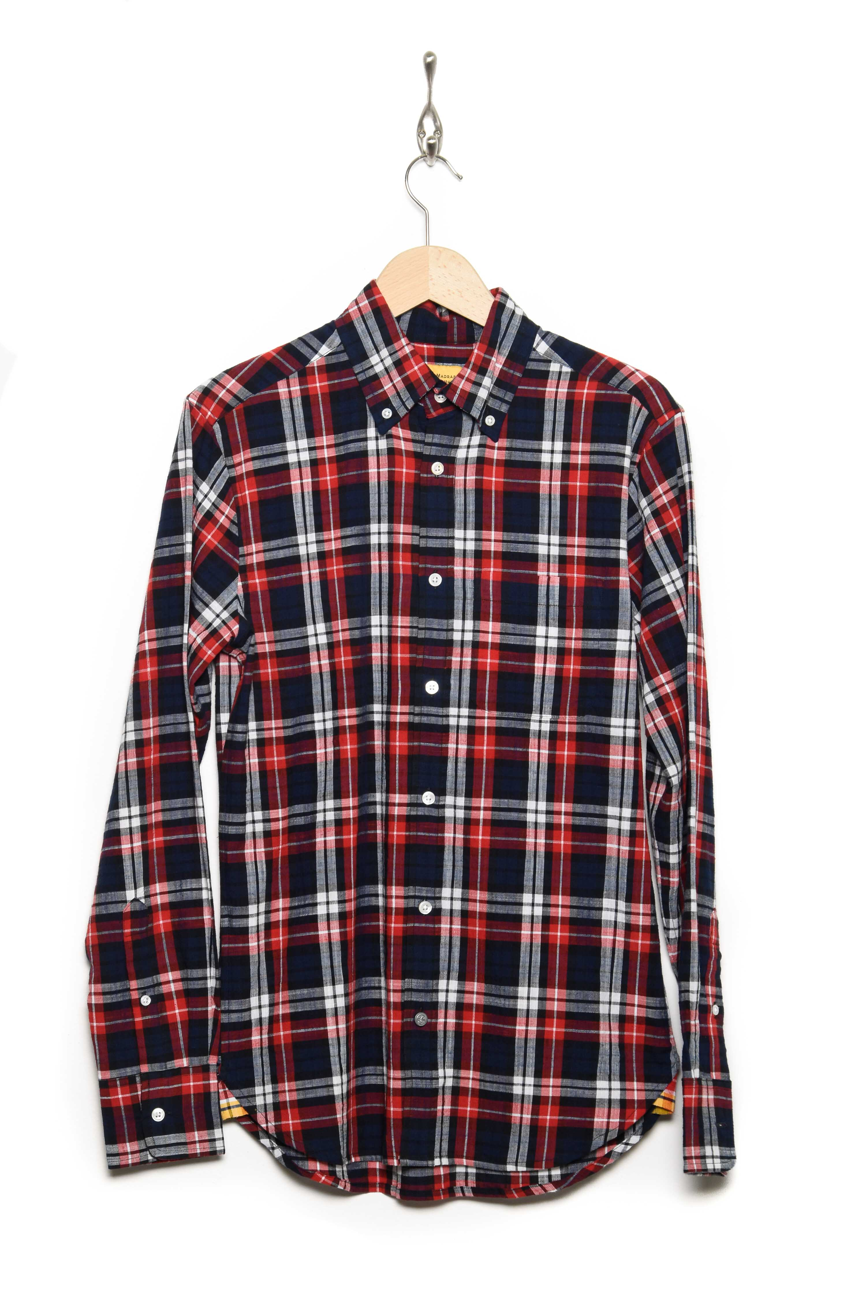 Buttondown navy/red check
