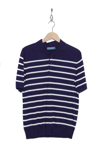 Moray Cashmere Breton Polo Shirt navy SW611/chalk SW606