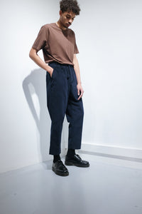 Pleated corduroy Trousers navy