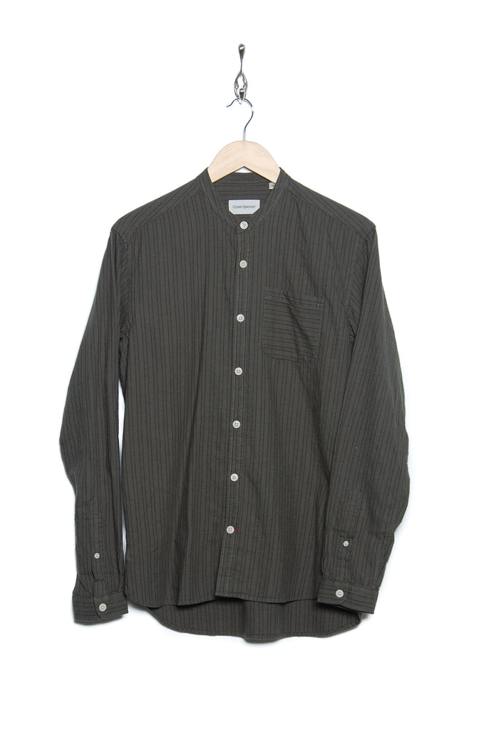 Oliver Spencer OSMS126 EAST Grandad Shirt green