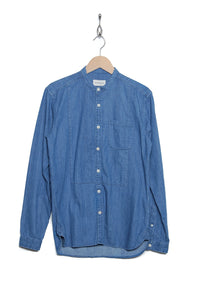 Oliver Spencer OSMS155 REY INDIGO Bib Grandad Shirt light
