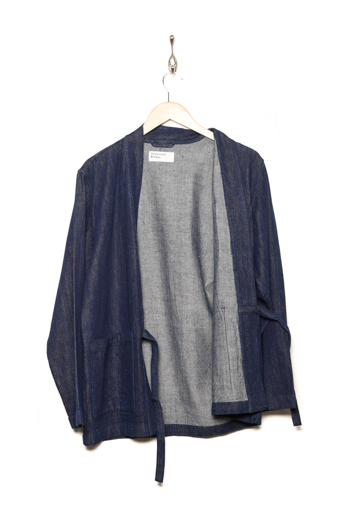 Universal Works Tie Front Jacket Handloom Denim indigo