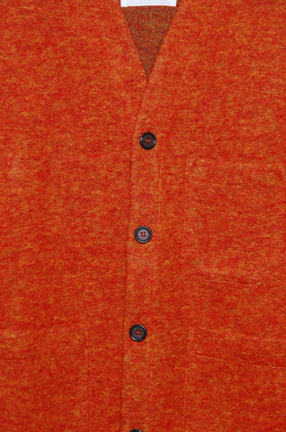 Universal Works Cardigan 21696 Wool Fleece orange