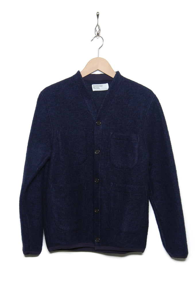 Universal Works Cardigan 21696 Wool Fleece navy