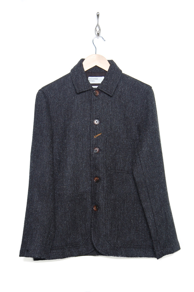 Universal Works Bakers Chore Jacket 21138 Harris Tweed charcoal
