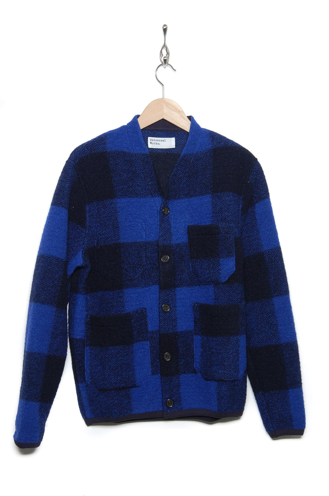 Universal Works Cardigan 21698 Wool Check blue