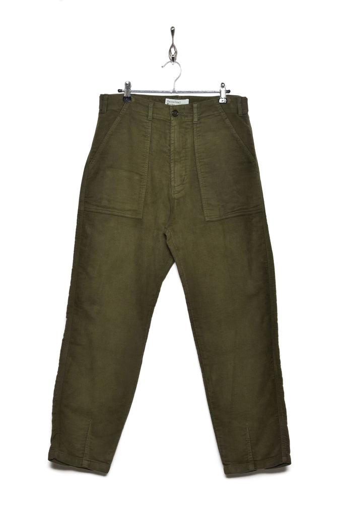 Universal Works 21547 moleskin fatigue pant moss