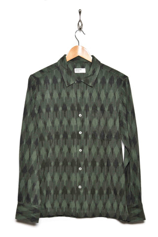 Universal Works 21146 heavy ikat garage shirt green