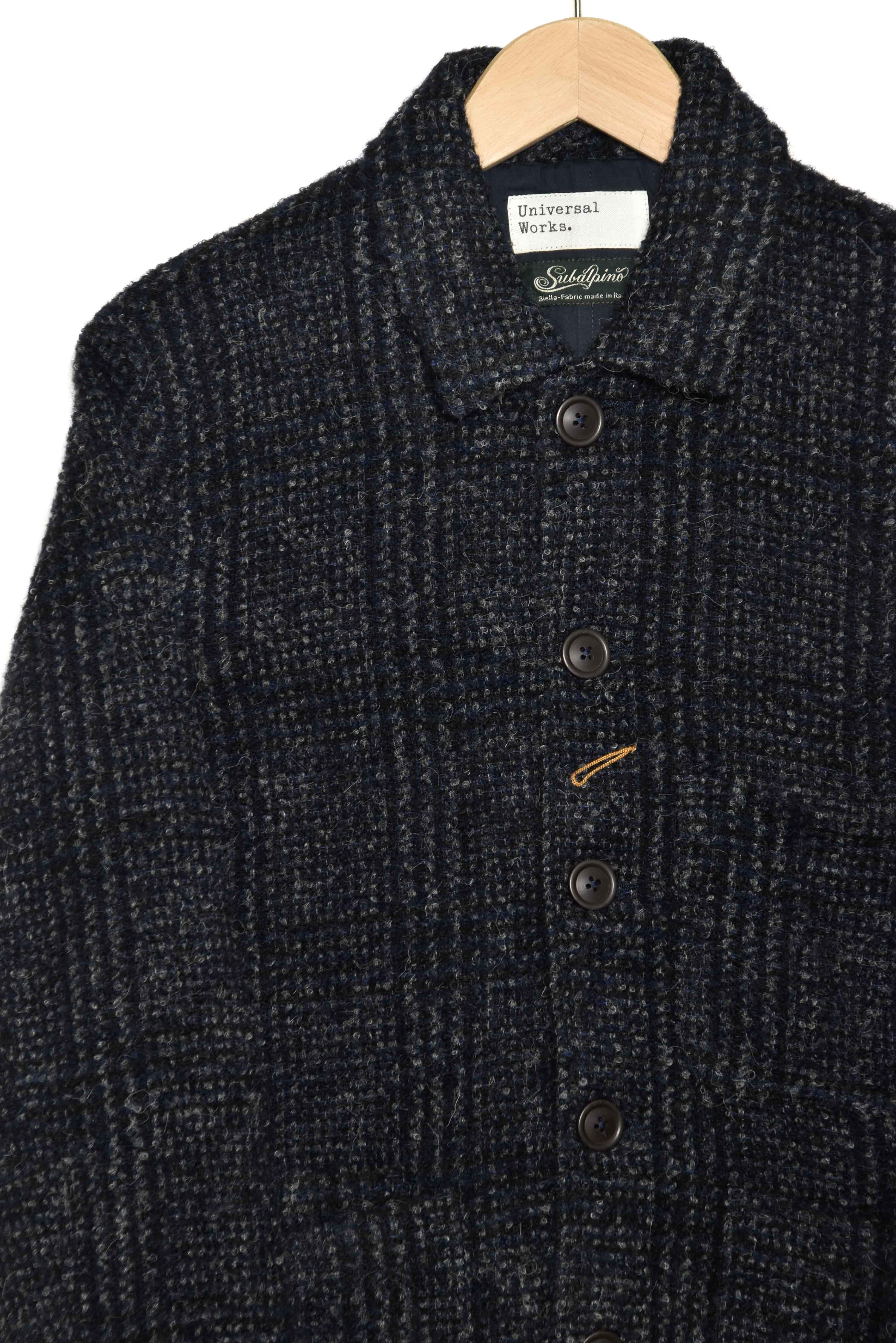 Universal Works Bakers Jacket 21154 alpino pow plaid navy