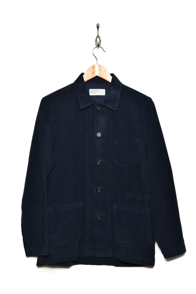 Universal Works 21663 fine cord bakers overshirt navy