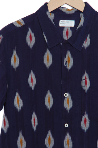 Universal Works 20117 Ikat Multi Color Road Shirt indigo