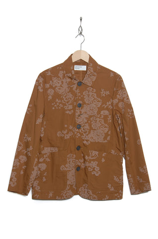 Universal Works 20169 Flower Print Poplin Bakers Jacket khaki