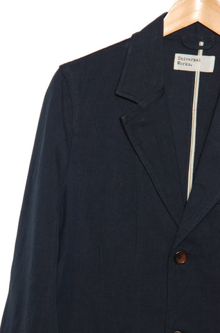 Universal Works 20202 Linen Twill Two Button Jacket navy