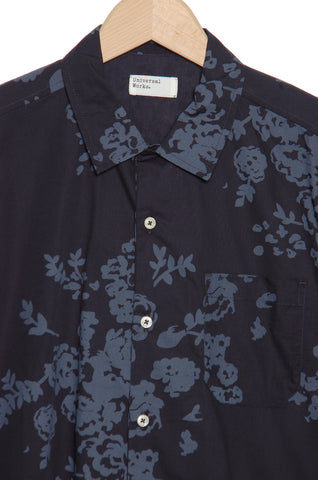 Universal Works 20184 Flower Print Poplin Garage Shirt navy