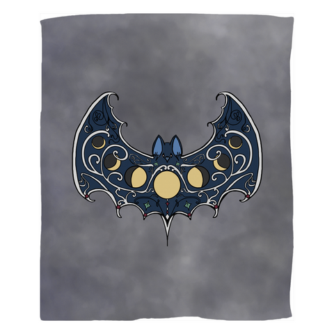 MoonPhase Bat Fleece Blanket