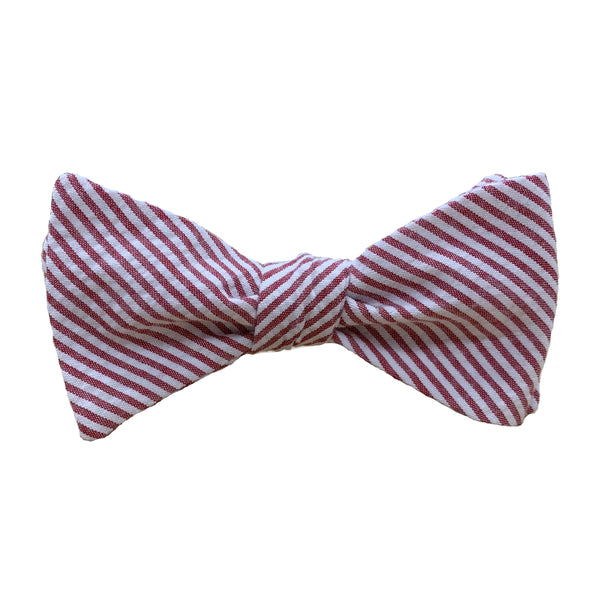Crimson Red Seersucker Stripe Bow Tie