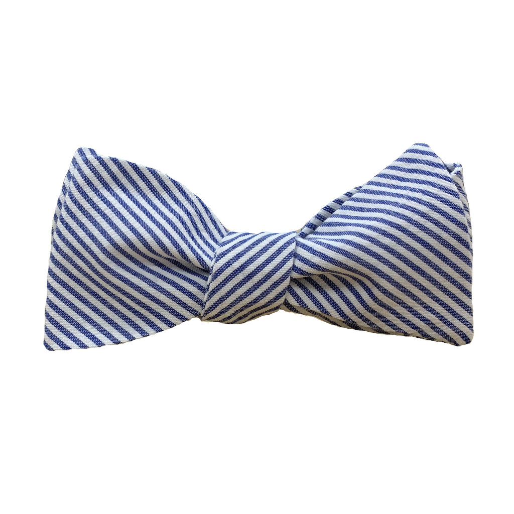 Dark Blue Seersucker Stripe Bow Tie
