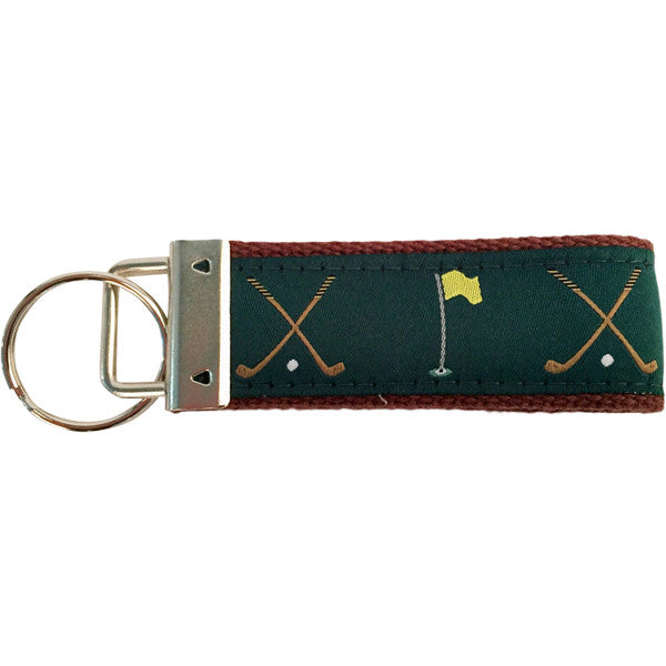 Golf Clubs and Flag Key Fob Made in America