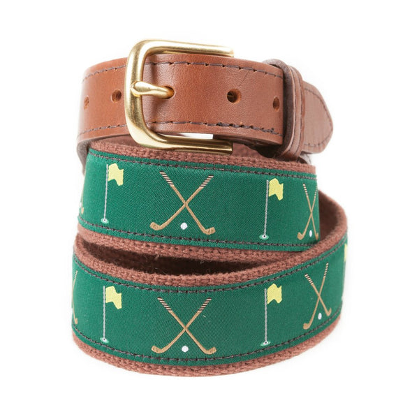 Golf Clubs and Flags Ribbon Golf Belt