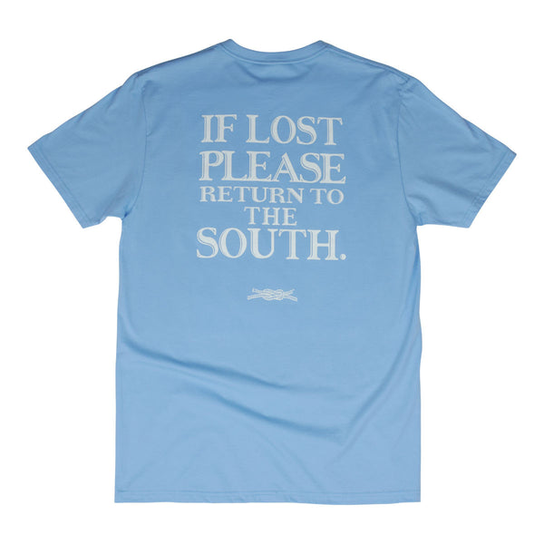 If Lost Return to the South Pocket T-Shirt in Blue