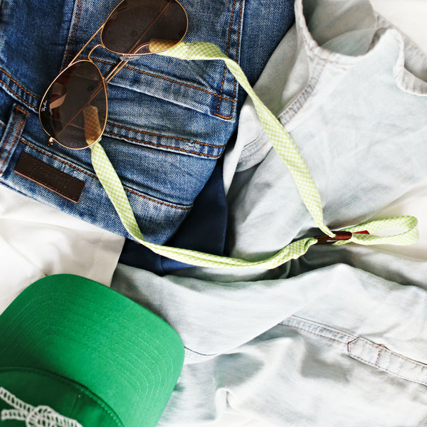 Knot Clothing Preppy Green Gingham Sunglass Straps
