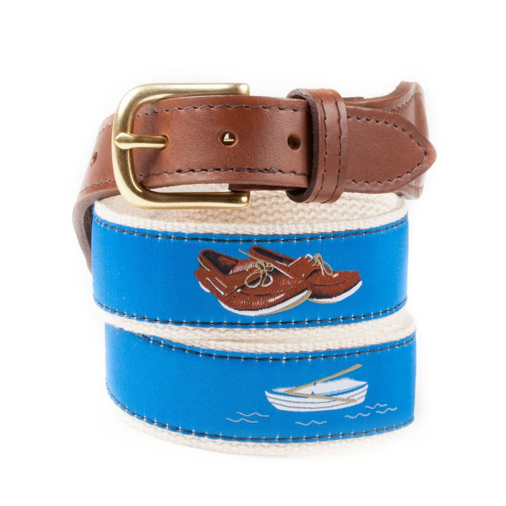 Mens Ribbon Belt Boat Shoes